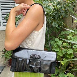 Vintage/unique black leather/nylon  Prada shoulder bag